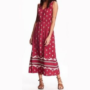 Old Navy Red Printed Button Front Maxi Dress